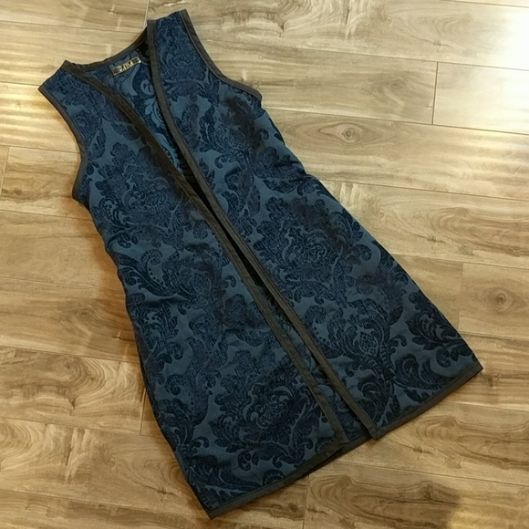 Blue Damask Long Vest Dress